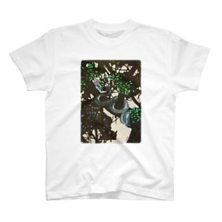 陰をゆく木登り蛇のTシャツ  T-shirts