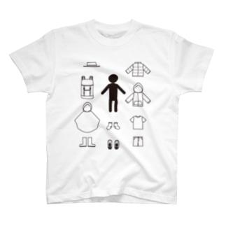 フェスの持ち物黒 T-shirts