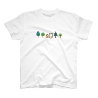 木とうさぎとちびうさぎ T-shirts