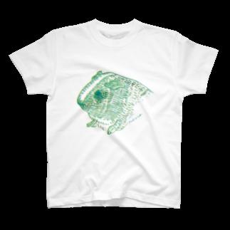 nins・にんずの緑と黄色のモルモット T-shirts