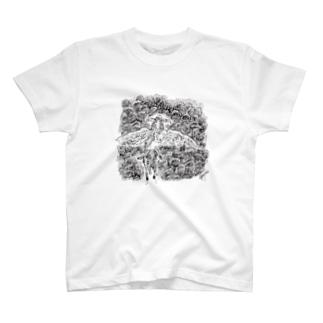 羽ロバに乗るリリリ T-shirts