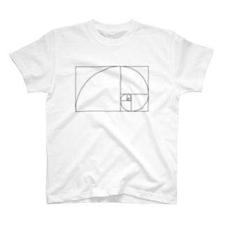 フィボナッチ黄金螺旋 T-shirts
