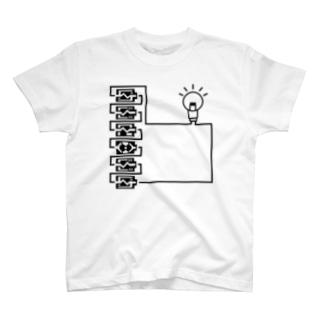 バッテリーサーキット_直列(黒)_type2 T-shirts