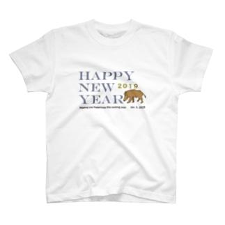 2019亥年の猪のイラスト年賀状イノシシ Tシャツ
