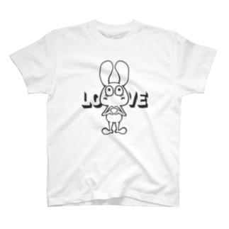黒!!LOVEポーズ決めるウサギ T-shirts