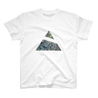 ブルー(三角) T-shirts