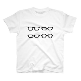 4種類の黒ぶちめがね T-shirts