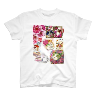 ボールペン画と可愛い動物 Tシャツ