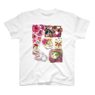 ボールペン画と可愛い動物 T-shirts