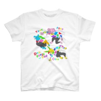 パルクールするどうぶつーズ カラフル Tシャツ