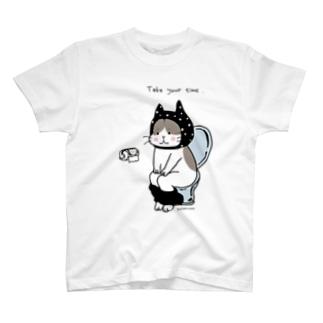 トイレねこ・黒 T-shirts