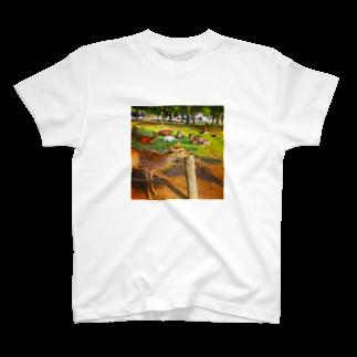 ならばー地亜貴(c_c)bのあごのせ奈良の鹿 T-shirts
