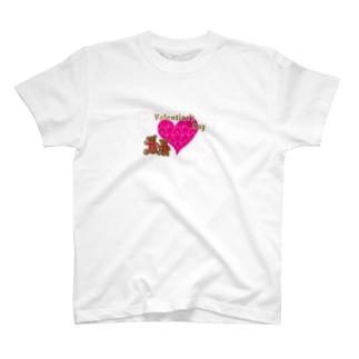 バレンタインのピンクのハートとテディーベアのカード T-shirts