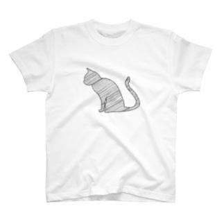 線の猫 T-shirts
