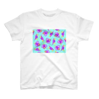 ムラサキウミコチョウがいっぱい Tシャツ
