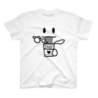 ラーメン大好き I Love Noodles(黒) T-shirts