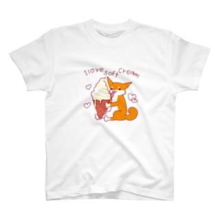 ソフトクリームと柴犬さん(赤柴) T-shirts