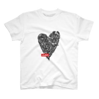 .CakesハートTシャツ(黒) T-shirts