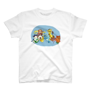 jazz・animals(blue) T-shirts