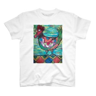 カラフルなニワトリ T-shirts