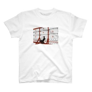 黒九尾の狐火 提灯 T-shirts