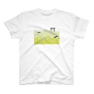 黒狛狐と穂波 穂波の海と鳥居 T-shirts