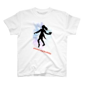 ジャズダンサーシルエット 大きな光 英字ロゴ T-shirts