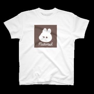 くぅもんせのお店のくぅもんせのナチュラルうさぎ T-shirts