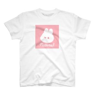 ピンクのナチュラルうさぎ T-shirts