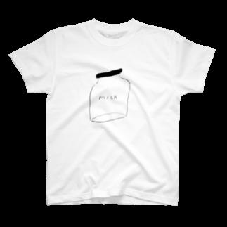 明季 aki_ishibashiのミルク瓶 T-shirts