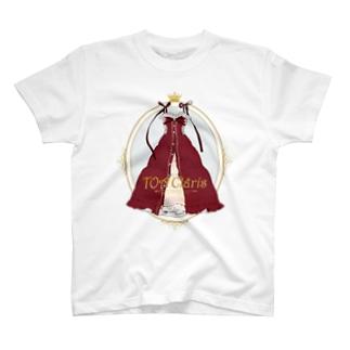 ワインレッド/ピンタックワンピース T-shirts