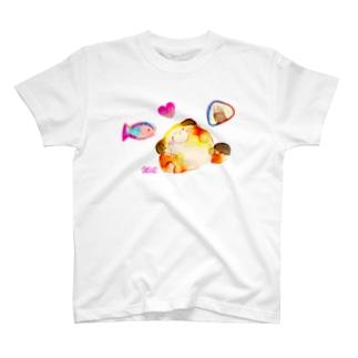ねこちゃんとおにぎりとおさかな T-shirts