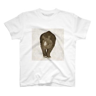 シロサイ×ペイズリー T-shirts