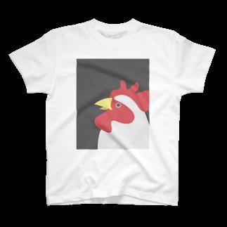 タケトリの籠のやや上を向くにわとり T-shirts