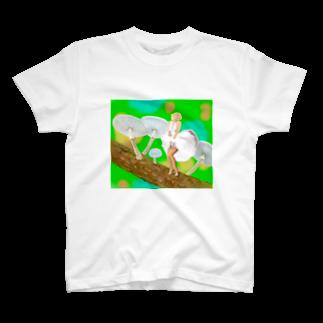 kinoko0827のホワイトプリーツメイト T-shirts