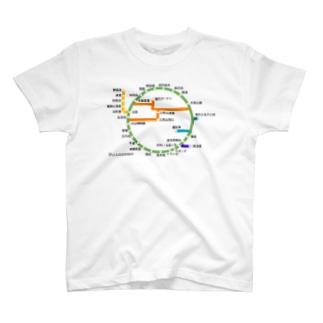 伊豆大島道路線図 T-shirts