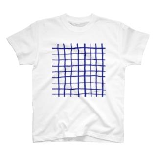 あお、チェック T-shirts