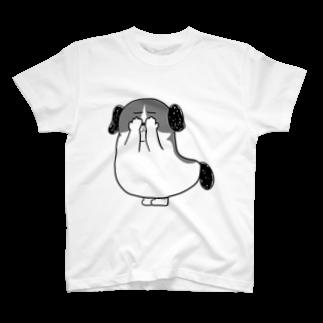 マツバラのもじゃまる目隠し 白黒 T-shirts