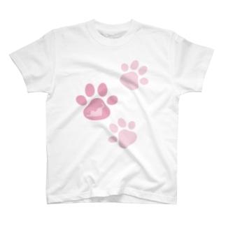 肉球in猫シルエット T-shirts