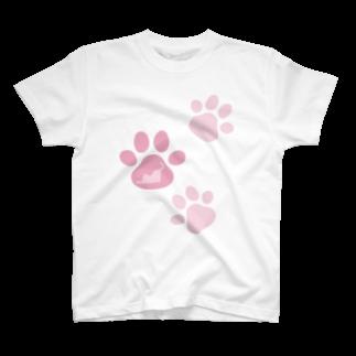 猫ねむりzzz..の肉球in猫シルエット T-shirts