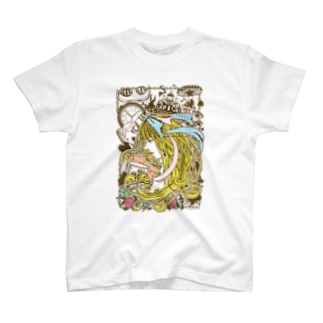 不思議の国のアリス-横顔(セピア-パステル) T-shirts