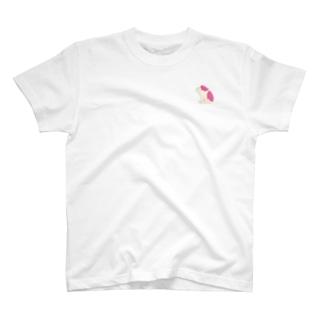 ジト目bulldog(beige×pink) T-shirts