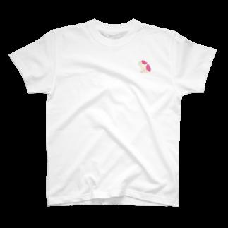 さくら もたけのジト目bulldog(beige×pink) T-shirts