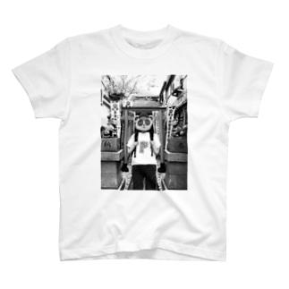 JINJYA  TANUKI(モノクロver.) T-shirts
