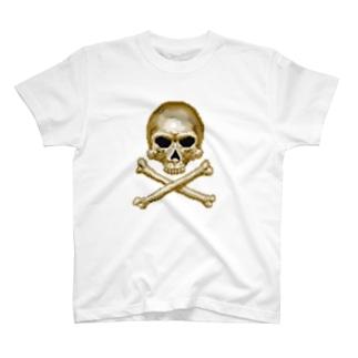 ドットスカル ゴールド T-shirts