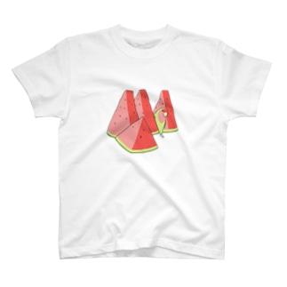 スイカとコザクラインコ T-shirts