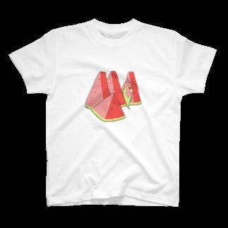インコグッズ屋のスイカとコザクラインコ T-shirts