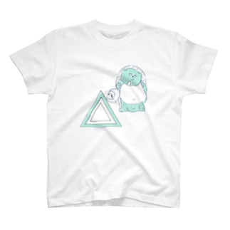 信楽焼たぬきと三角_ブルー T-shirts