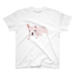 フレンチブルデザインTシャツ「お外でやや警戒心あり」 T-shirts