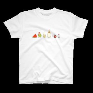 インコグッズ屋の鳥と食べ物 T-shirts